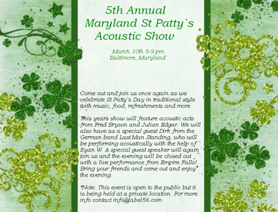 5th Annual Maryland Acoustic St Patty`s Show