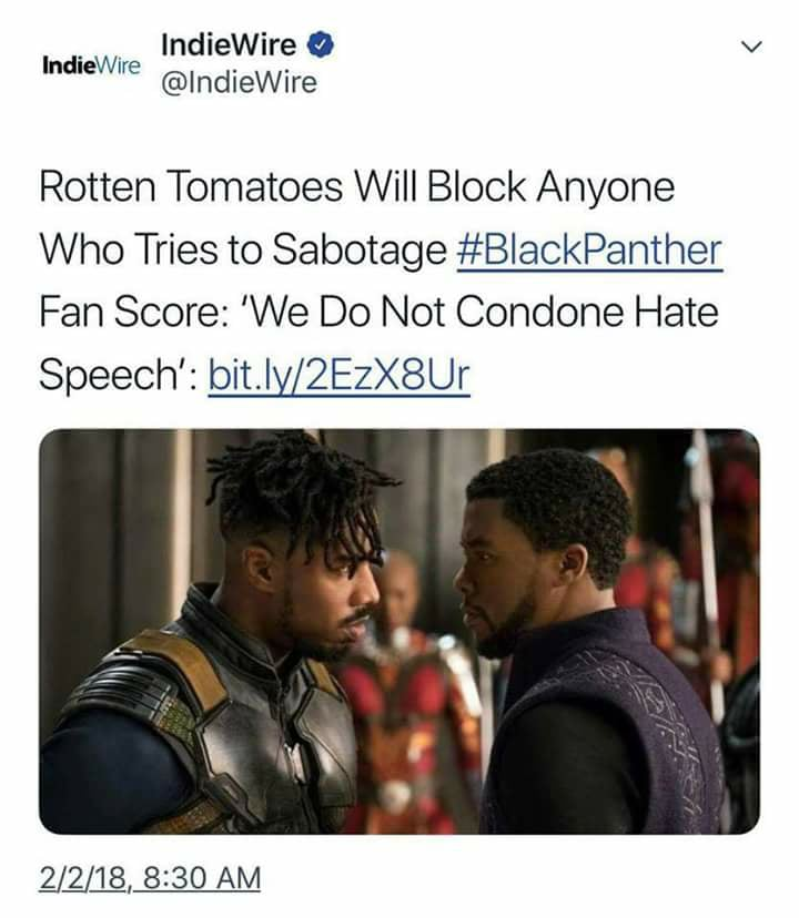Today`s Headlines In Racism: If You Don`t Like The Black Panther Movie You`re A Racist