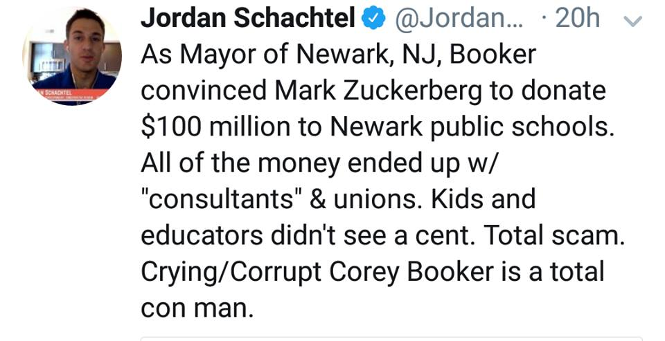 Did Children Cry Tears Of Rage When Cory Booker Took The Money Donated To Their Schools While He Was Mayor?