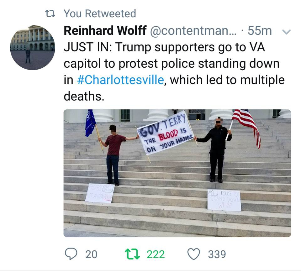 Protest At VA Capital Over Charlottesville
