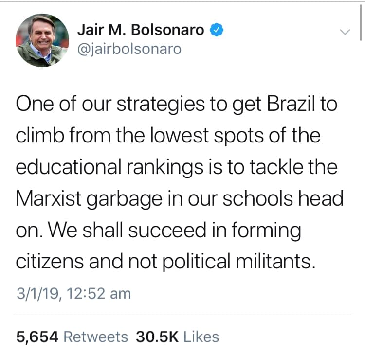 Quotes: Bolsonaro- Root Out Marxist Garbage In Education