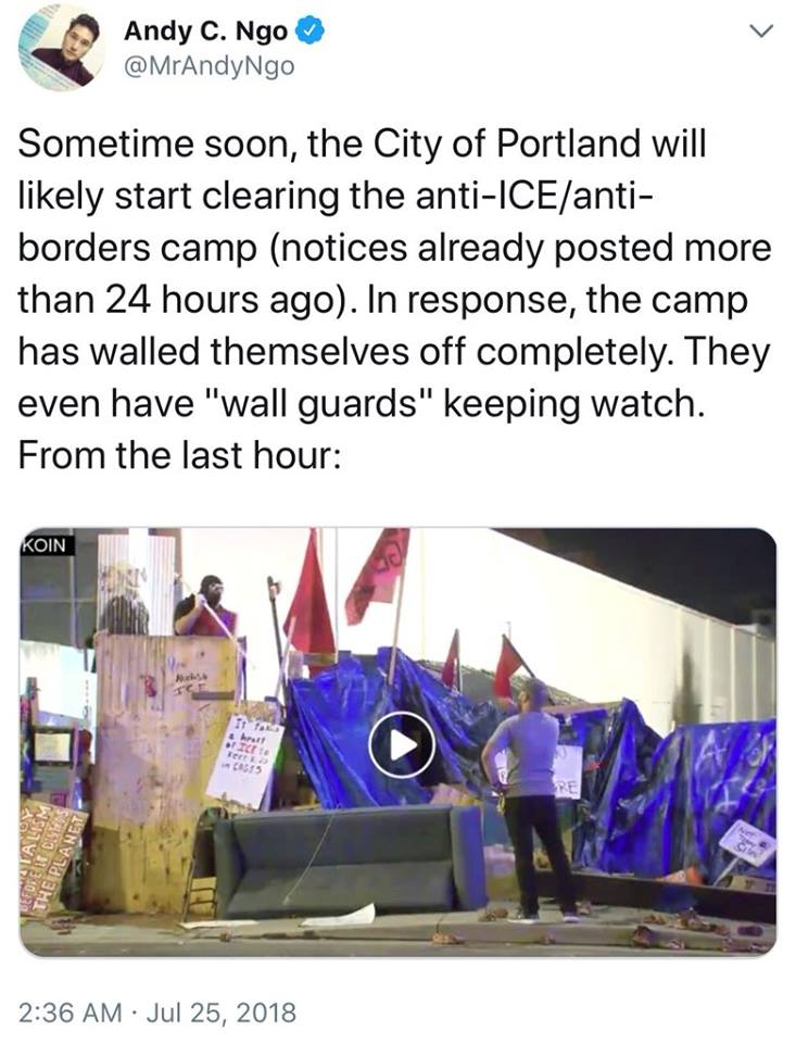 Irony Alert: Occupy ICE Protestors Build A Wall