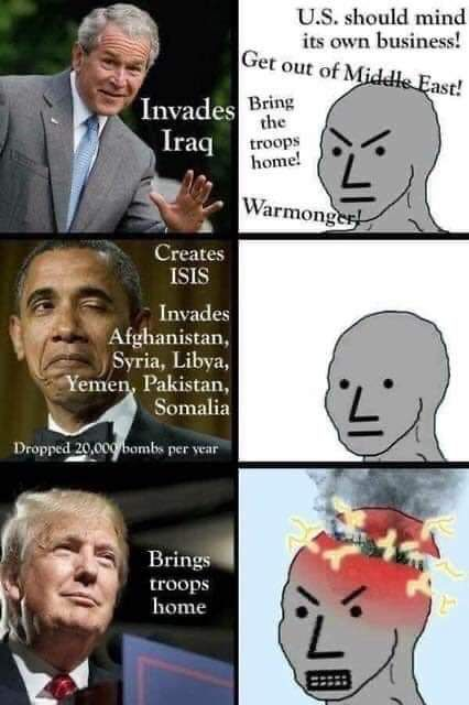 Meme Alert: The Anti War Left Through The Presidents