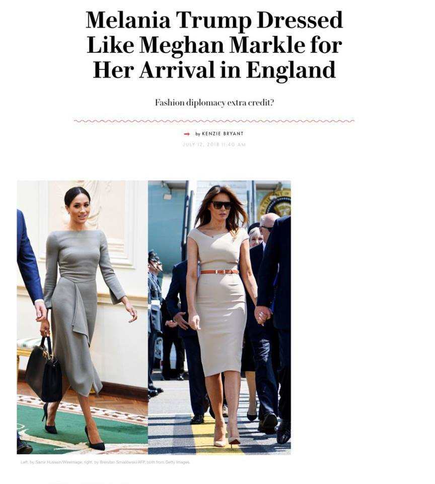 Trump Derangement Syndrome: Fashion Writer Say Melania Dressed Like Megan Markle