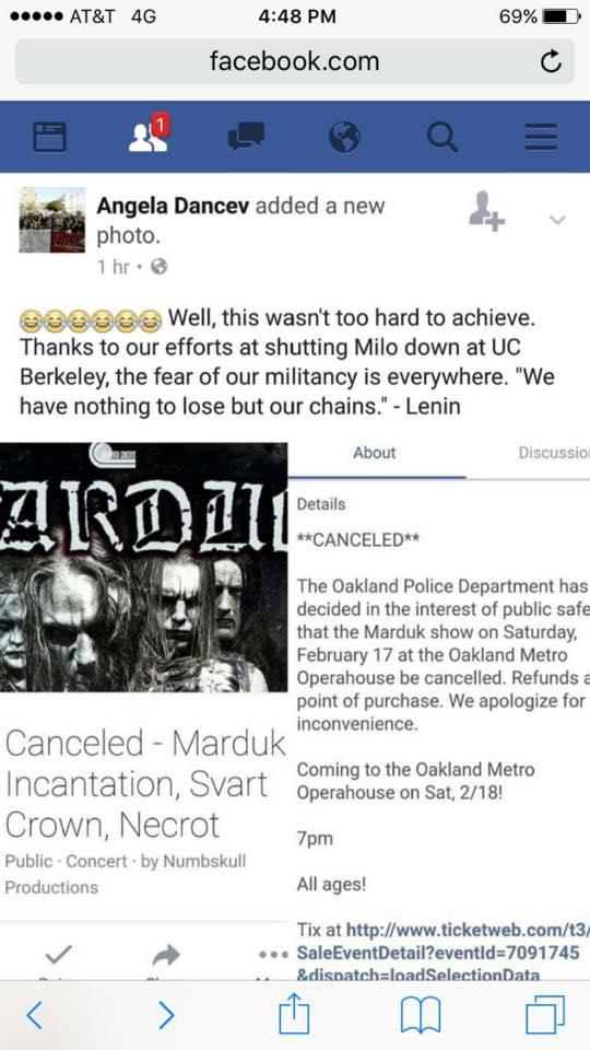 Oakland Police Ally with Antifa Terrorists to Stop Marduk Show