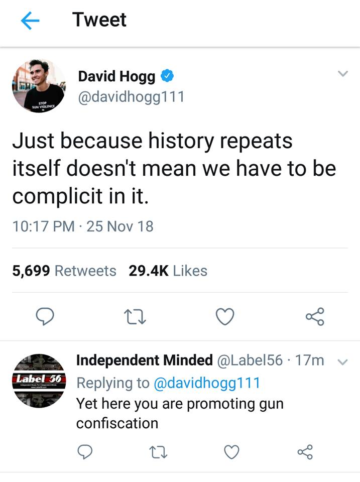 David Hogg Doesn`t Want History To Repeat Itself, Yet Promotes Gun Confiscation