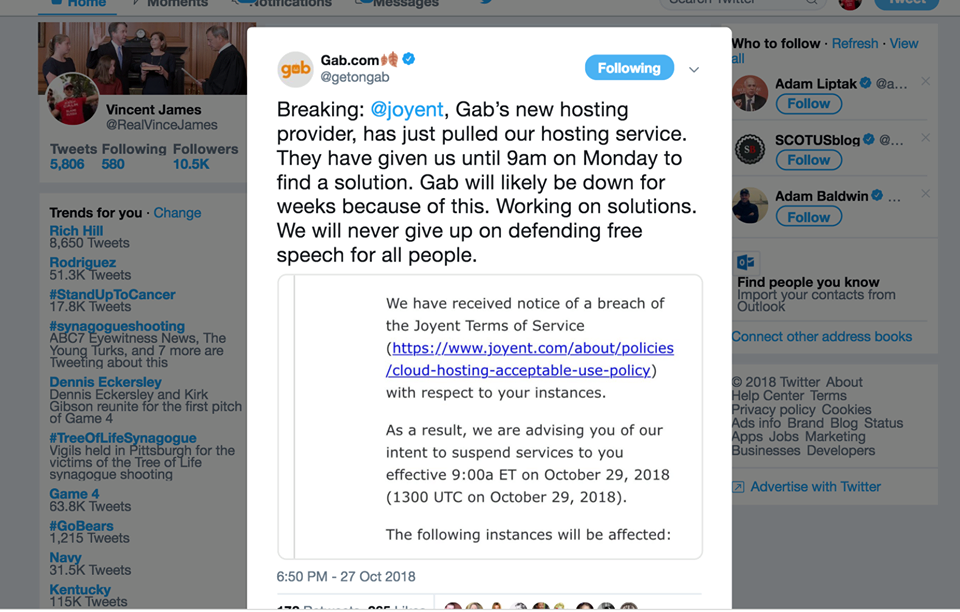 Tech Tyranny: GAB Loses Hosting Company. Paypal & Stripe Ban Them
