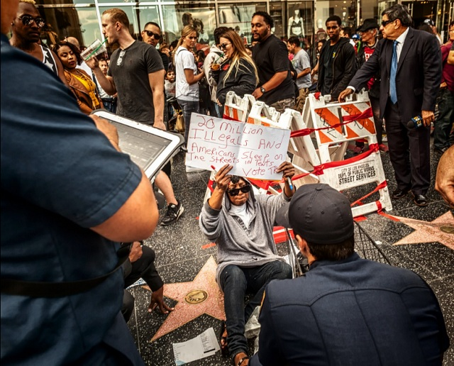 Homeless Woman Protecting Trump`s Star Attacked