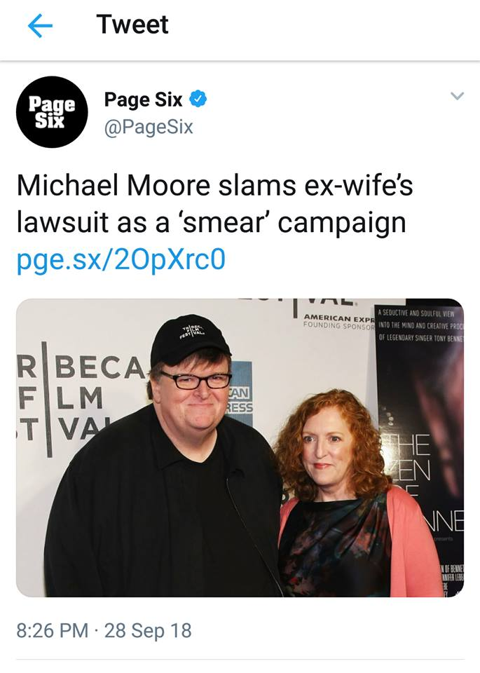 Stand With Kathleen! Michael Moore`s Ex Wife`s Lawsuit Called A Smear Campaign