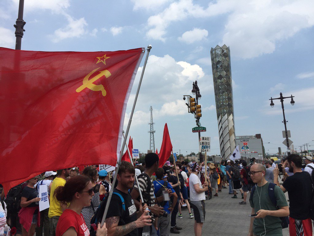 Soviet Flags Fly Proudly at DNC Convention March in Philly