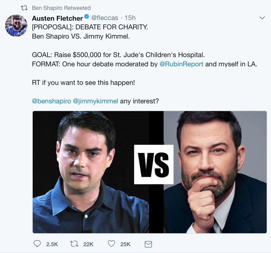 "Will ""Intelligent Liberal"" Jimmy Kimmel Debate Ben Shapiro?"
