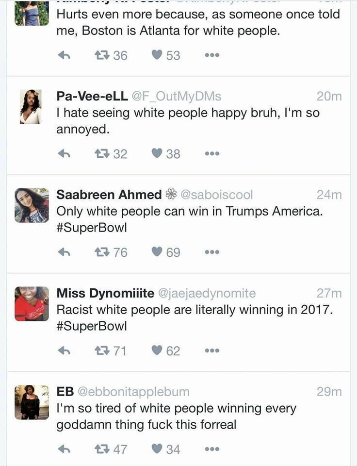 Liberals Go Crazy After Super Bowl: Blame Patriots Win on White Supremacy