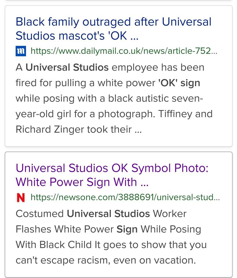 "Hate Hoax? Controversy Over Universal Employee Making ""OK"" Sign In Photo With Autistic Black Girl"