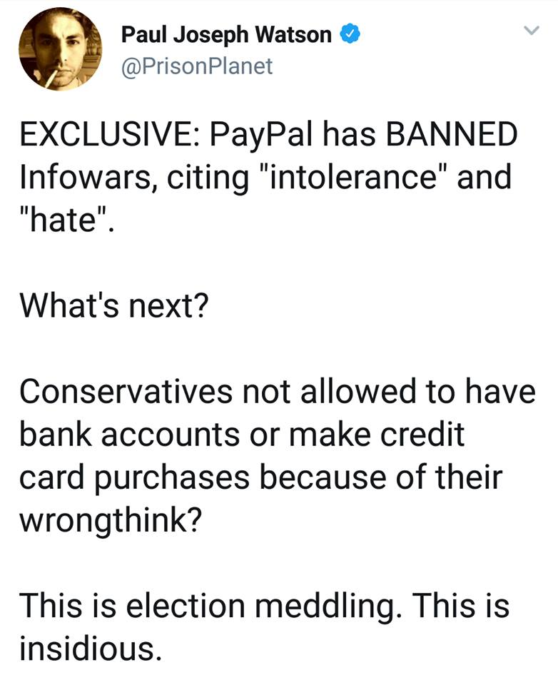 Financial Tyranny Continues: Paypal Bans InfoWars