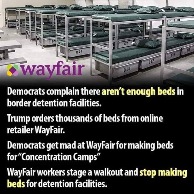 Liberal Logic: Wayfair & Migrant Center Beds